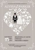 Постер, плакат: Wedding invitation with heart composition Wedding wear