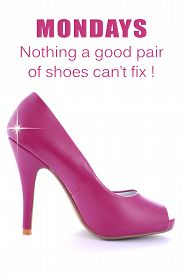 image of stiletto  - Pink High Heel Stiletto on white background with added star effect and text saying Mondays  - JPG
