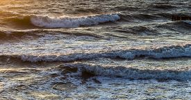 picture of breaker  - wave breakers at the ocean of the baltic sea - JPG