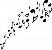 foto of musical note  - a series of musical notes dancing across a white background - JPG