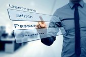 Login Box - Finger Pushing Username And Password Fields poster