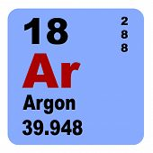Постер, плакат: Periodic Table of Elements: No 18 Argon