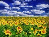 Sonnenblumenfeld unter blauen Himmel Hintergrund Gemälde