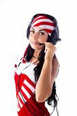 Santa Girl With Headphones Talking On Skype. Holidays New Year And Christmas