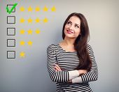The Best Rating, Evaluation. Business Confident Happy Woman Voting To Five Yellow Star To Increase R poster