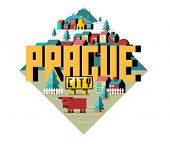 Prague or praha city is a beautiful destination to visit for tourism. poster