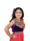 Постер, плакат: Portrait Of A Little Girl In Indian Dance Pose Isolated White