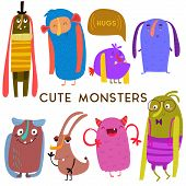 Постер, плакат: Sweet Cartoon Monsters cute Vector Set For Childish Design Collection Fabulous Incredible Characte