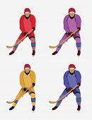 Постер, плакат: Hockey Players With A Hockey Stick And Skates