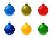 Постер, плакат: Set of Christmas Tree Colored Balls