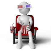 3D human sitting on a armchair in the cinema, eating popcorn with 3D glasses