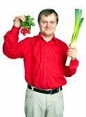 Man With Vegetable: Onion  Leek And Fresh Radish