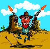 stock photo of sixgun  - Cartoon Cowboy Jumping With His Six Guns - JPG