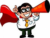 Cartoon superhero business man using a megaphone
