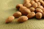 Almond Nuts On Woven Mat