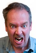 stock photo of berserk  - A man is furious about something isolated on white - JPG