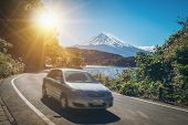 Car Driving Near Mt Fuji In Japan With Motion Blur poster