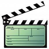 foto of crew cut  - Digital movie clapboard used by movie directors isolated over white background - JPG