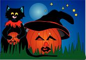 Halloween, A Cat And A Pumpkin Vector Eps