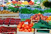stock photo of crate  - Fresh fruits and vegetables at farmers market - JPG