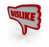 A red outlined thumb down icon with the word Dislike illustrating your displeasure for a website or