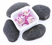 Spa stones and floating flowers