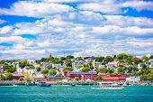 Portland, Maine, USA coastal townscape. poster