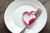 Table Setting With Red Heart poster