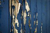 Flaky blue paint