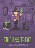 Halloween Poster With A Witch In Her House Studying Magic. Young Sorceress Casting A Magic Spell. Wi poster