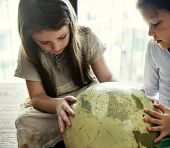 Girls Friends Globe Geography Concept poster