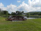 bridge by pond scene