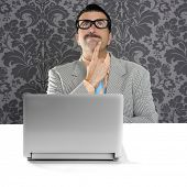 genius nerd silly glasses computer thinking gesture problem solution wallpaper background