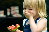 Laughing Toddler Girl With A Piece Of Red Watermelon