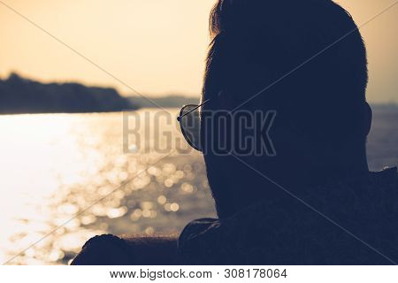 poster of Traveler Man Watching Through Boat Window. Young Traveler Man In Vacation. Man Traveling By Boat. Tr