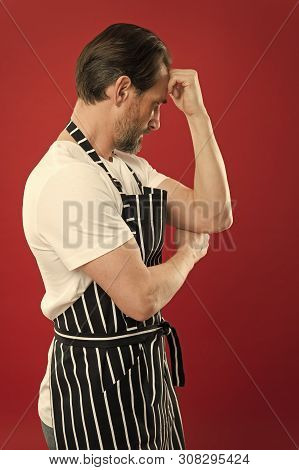 Confident Mature Handsome Man In Apron Red Background He Might Be