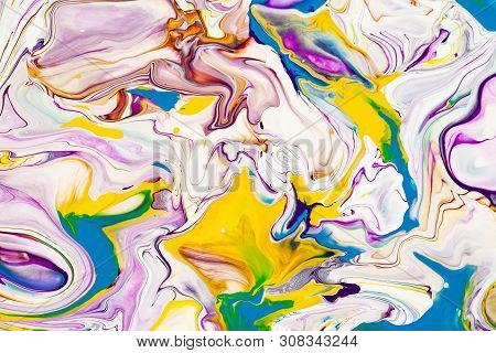 poster of Purple And Yellow Vibrant Abstract Marbled Texture. Vibrant, Colorful, Liquid, Fluid Art Background.