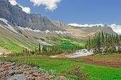 Um vale de montanha no verão
