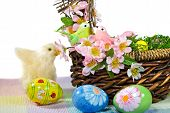 picture of duck egg blue  - Duckling with Easter basket and decorated eggs  - JPG