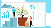 Investing Vector Illustration. Growing Money Tree. Deposit Profit And Wealth Growing Business. Teamw poster