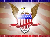 Vector illustration of golden eagle and shield on American flag for American Independence Day and other events.