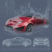 Sports car blueprint. Original car design.