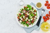 Greek Salad With Feta Cheese, Olives, Cherry Tomato, Cucumber, Lettuce And Onion, Vegeterian Mediter poster