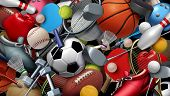 Sports Equipment With A Football Basketball Baseball Soccer Tennis And Golf Ball Including Ping Pong poster