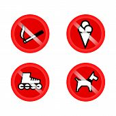 Set Of Prohibition Signs At The Entrance To The Store Or Shop. Not Allowed Icons: No Dogs, No Ice Cr poster