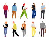 Cartoon Casual People On White. Casual Dressed Human Characters Vector Illustration, Lifestyle Desig poster