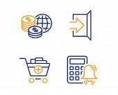 World Money, Exit And Add Products Icons Simple Set. Calculator Alarm Sign. Global Markets, Escape,  poster