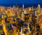Sunset aerial view of Chicago Skylines building and Lake Michigan at Chicago downtown in Chicago Cit poster