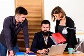 Female Small Minority. Woman Attractive Lady Working With Men Colleagues. Office Collective Concept. poster