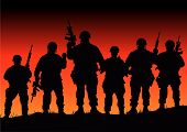 picture of army soldier  - Abstract vector silhouette illustration of some soldiers on patrol - JPG